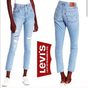 New LEVI'S 501 High Rise Distressed Skinny Jeans
